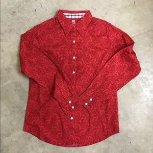 NWT George Strait Women's Red & Black Paisley Top